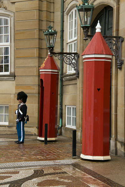Amalienborg is guarded day and night by Royal Life Guards  Their dress uniform is a scarlet tunic; blue trousers; and a navy bearskin cap