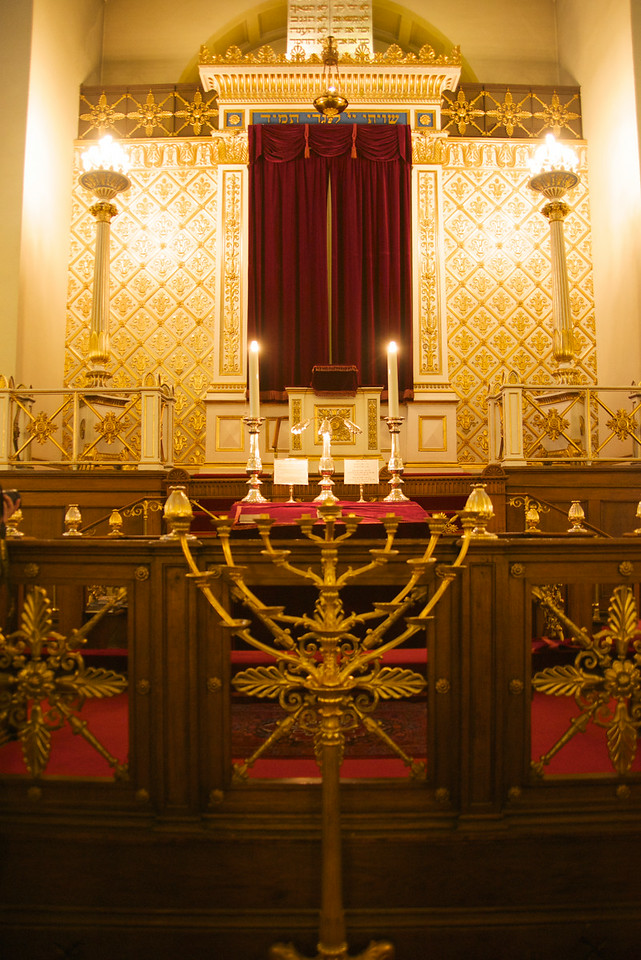 Menorah, Reading Table looking toward the Bimah and Ark