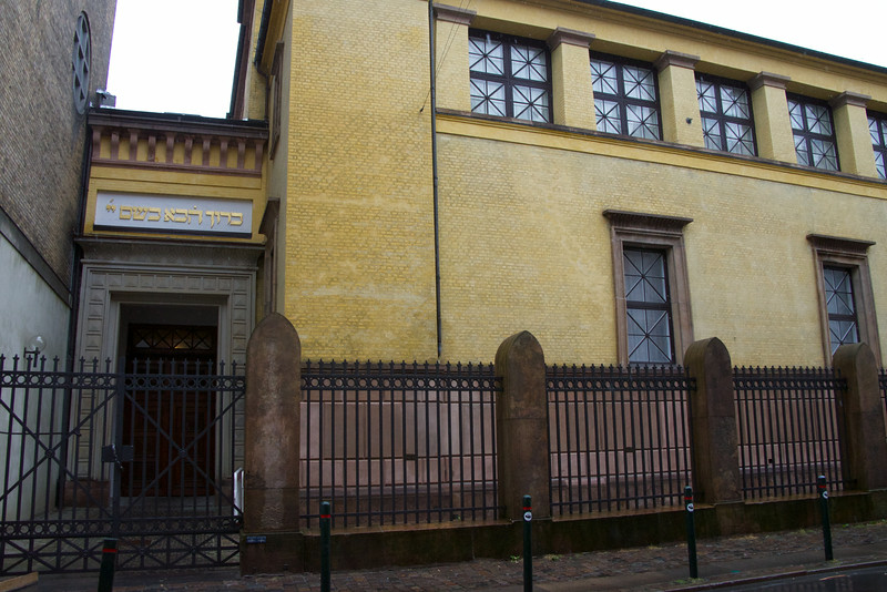 The Orthodox Synagogue in Copenhagen. The Hebrew over the door is the only sign that it is a synagogue.