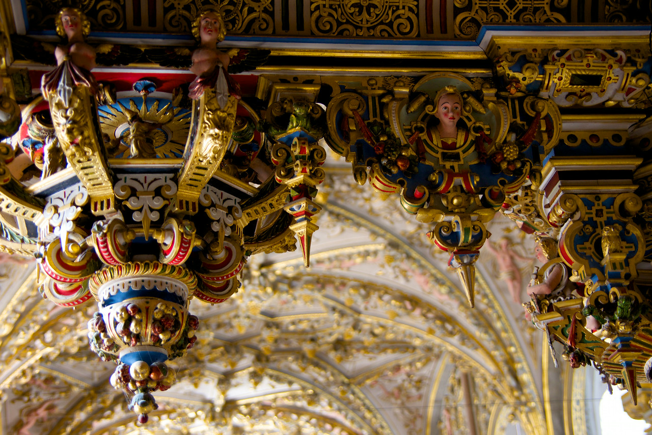 Detail of the Ceiling Carvings and painting