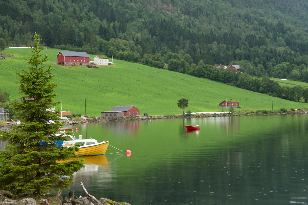 Hornindal Lake, 514 meters deep, is the deepest lake in Northern Europe. If it were drained, The Raftevolds Hotel would look like a mountain lodge (according to legend there is a lake monster, Horny). Fantastic trout fishing... King fished there last week.