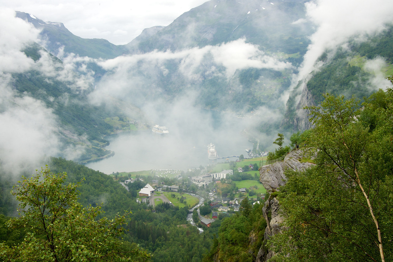 Crystal Symphony on the right. Picture is taken at half way point down from Dalsnibba to Geiranger.