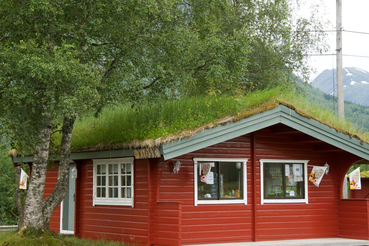 Sod roof not just a traditional roof. Often new construction includes a sod roof. Roof is lined with birch bark and sod is placed on top of the bark. It is cool in the summer and warm in the winter.