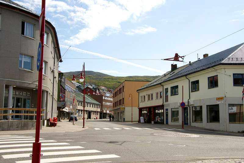 Deserted streets in Honningsvag. Almost everything was closed on Sunday.