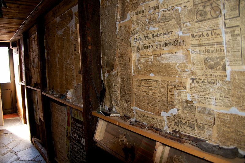 The hall was lined with memorabilia that was found during restoration construction