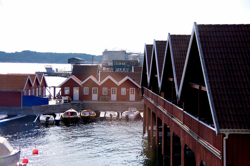 Example of boat houses. Almost everyone in Norway owns a boat because it is more affordable than a vacation home. The boats have to be sheltered in the winter.