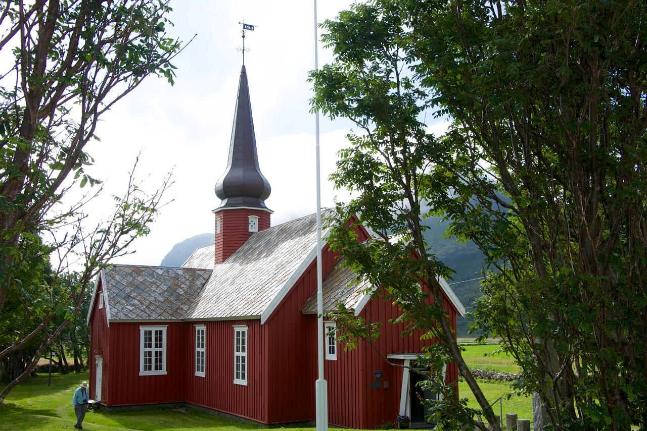 Flakstad Kirke built in 1780 and restored in 1938