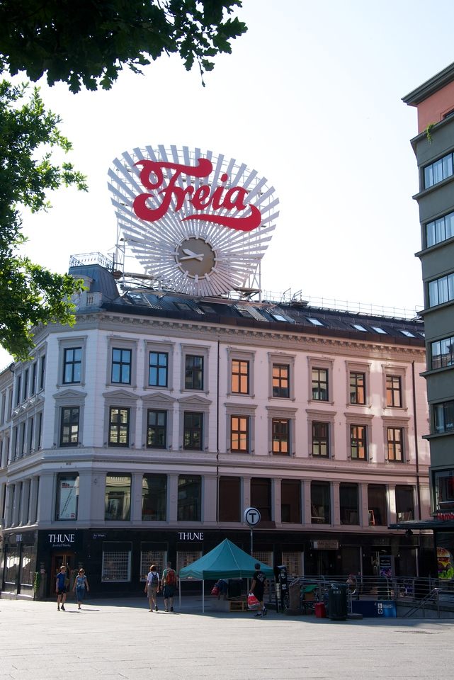 Oldest electric advertisement in Olslo... Freia is a chocolate factory.