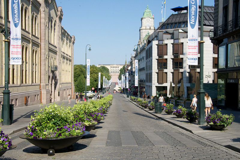 Karl Johan Gate from Parliament to Royal Palace    flower planters is for security