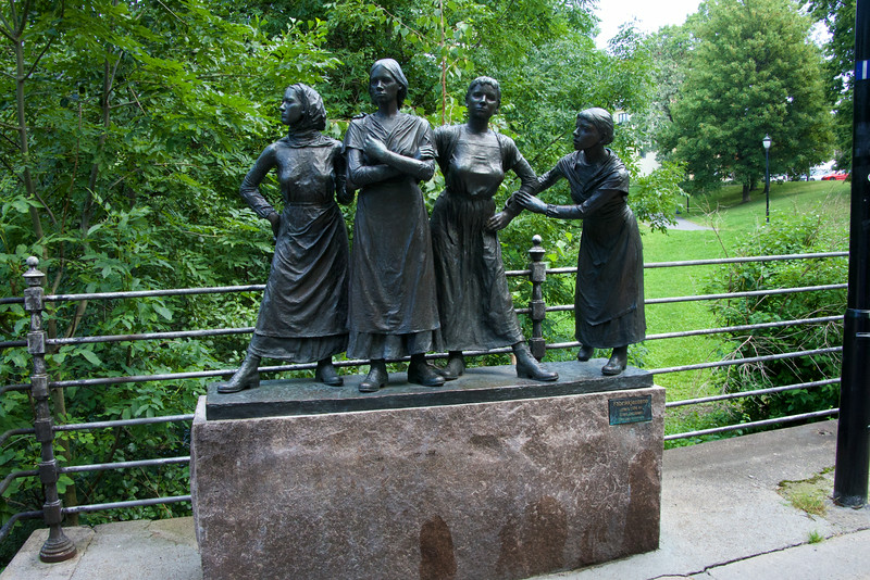 "This statue is called ""Factory Girls"" and is a tribute to the young women who worked in the surrounding factories"