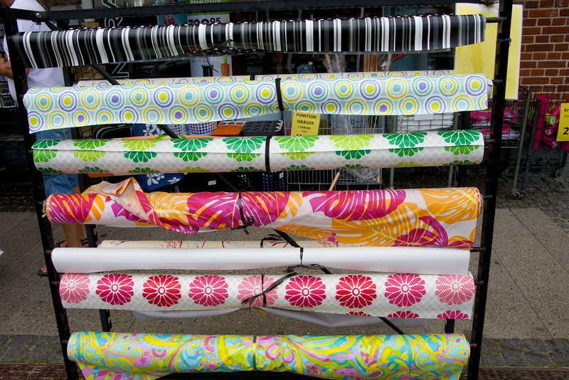 Patterned oil cloth is popular as table cloths. Very colorful and unique patterns.