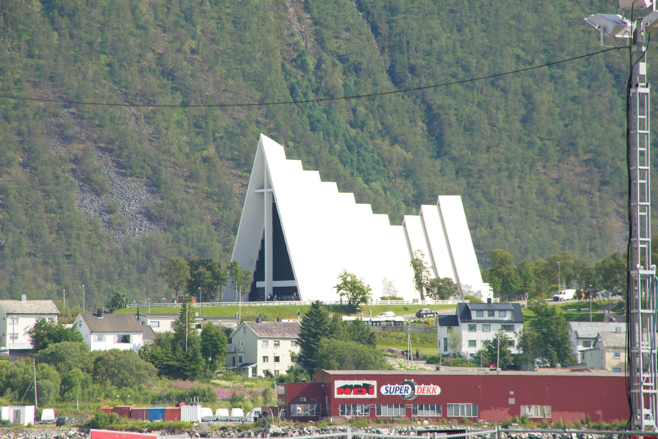 The Arctic Cathedral built in shape of a glacier as a symbol of the culture and nature of North Norway. It features the largest stained glass painting in Europe.