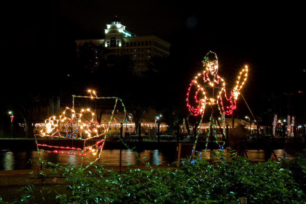 Only in Florida would Christmas lights include a pirate and a treasure chest.