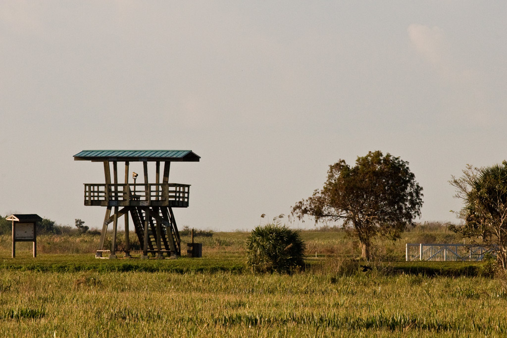 Our destination is the watch tower on the far side of the impoundment.