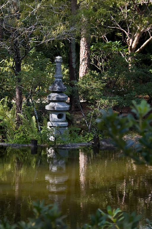 Stone lantern at the Paradise Garden, an earthly representation of the Pure Land, or Buddhist heaven.