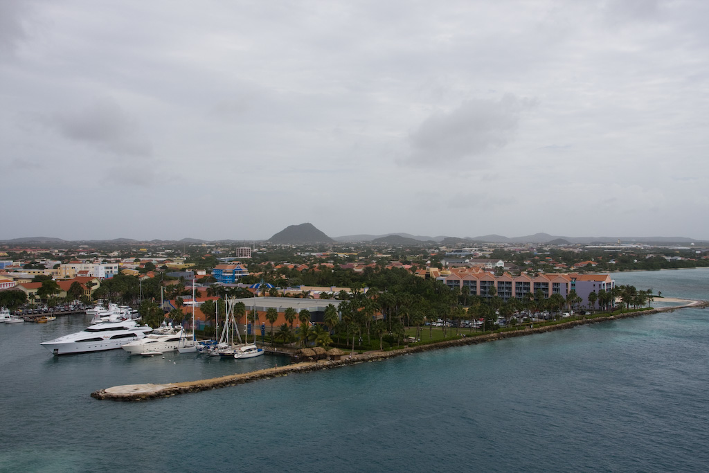 Aruba - sailaway under overcast skies and a light drizzle.