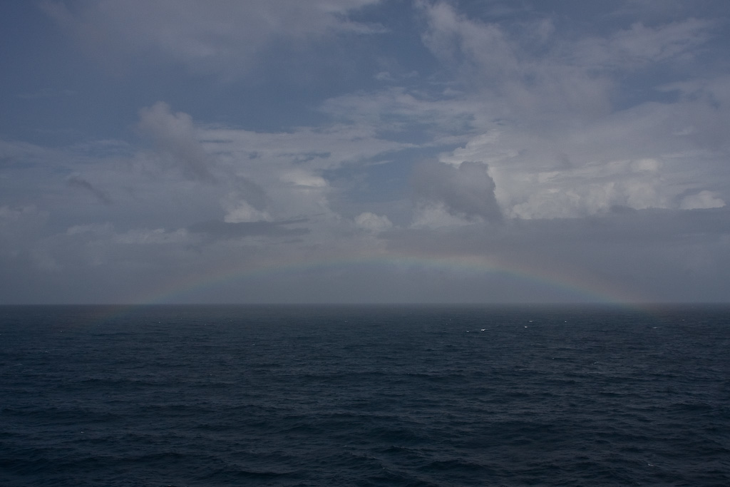 After a short squall once we're at sea, we're graced with another rainbow - three in one day!