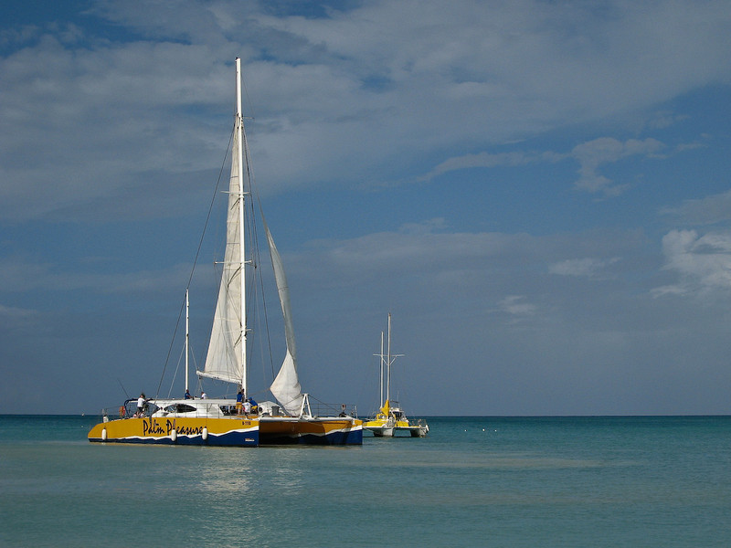 With its sails unfurled, Palm Pleasure is ready to take snorkelers out for a glimpse of the underwater world.