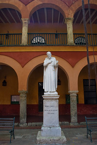"Statue of San Pedro Claver in the courtyard of the university.  A Jesuit priest, Claver came to Cartagena in 1610.  He was appalled by the treatment of the slaves and vowed to help them.  On 3 April 1622, he wrote in his diary, ""Pedro Claver, slave of the slaves forever."""