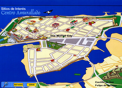 Map showing the Walled City and Castillo de San Felipe de Barajas, the two areas that we visited during our port of call.  (Map from:  http://www.cartagenacaribe.com/en/ggeneral/mapas.htm.)