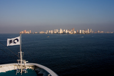 Our first view of Cartagena de Indias (as opposed to Cartagena, Spain) is the Boca Grande skyline on El Laguito Peninsula, which shelters the inner harbor of Cartagena.