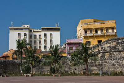 Glimpse of buildings behind the wall that surrounds what is now the old city of Cartagena.