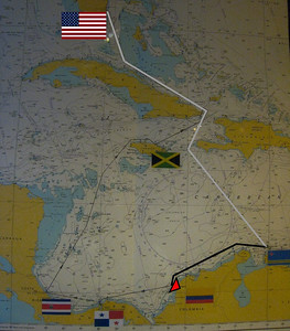 The ship's navigation chart shows the route traveled from Aruba to Cartagena, Colombia on the north shore of South America.