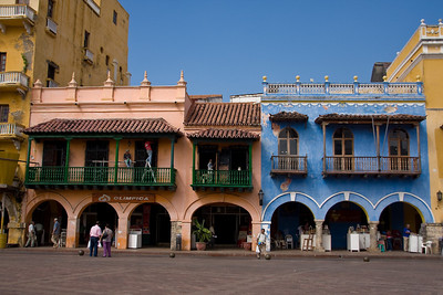 Colorful buildings in Plaza de Los Coches (Coach Square) just inside the Walled City.