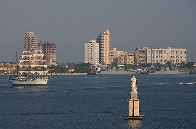 The inner harbor.  The statue is of the Virgin Carmen, Cartagena's patron saint of navigators. (The 3-masted ship is a Naval training vessel [per a comment received on this image].)