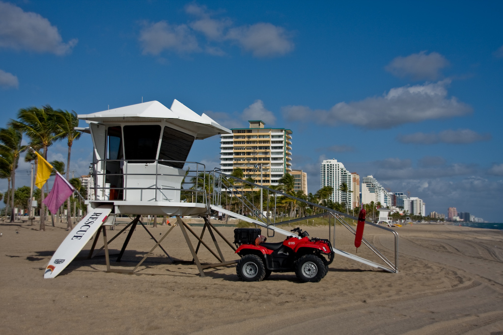 Fort Lauderdale Beach, Florida:<br /> With hardly anyone around, it's going to be an easy day for the lifeguards.