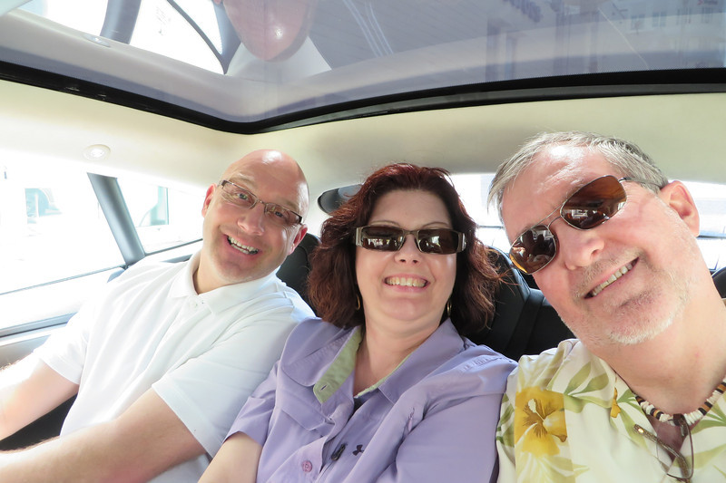Wayne, Sheila, and Kenny get to go along and provide commentary on Ted's driving.  The back seat was surprisingly spacious.