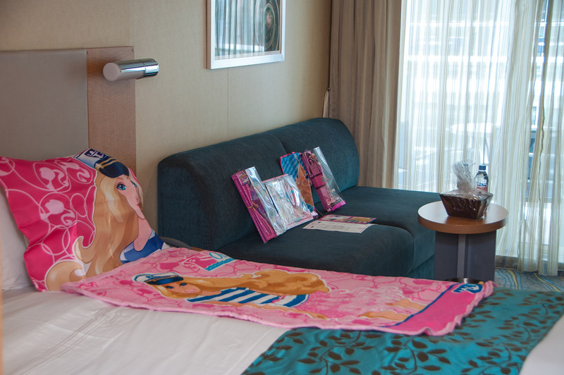 Our Boardwalk Balcony Cabin #10327 when we boarded with Emma's Barbie Package 10/20/13 on Allure of the Seas.