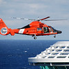 US Coast Guard landing on the bow of the ship (Royal Caribbean's Independence of the Seas) on the 1st day of the cruise for a medical evacuation. Somewhere off the coast of Cuba south of Key West. 12/22/08