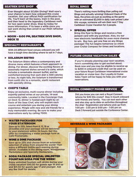 Oasis Cruise Specials (Inside Day Cruise Compass) 11/26/11 Page 3