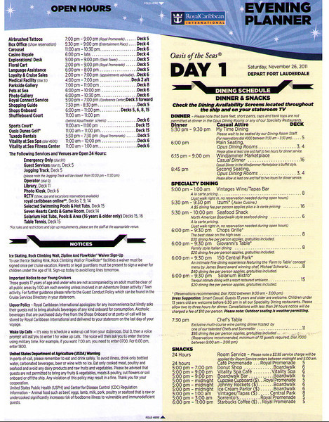 Oasis Evening Planner Day 1 (11/26/11) Page 1