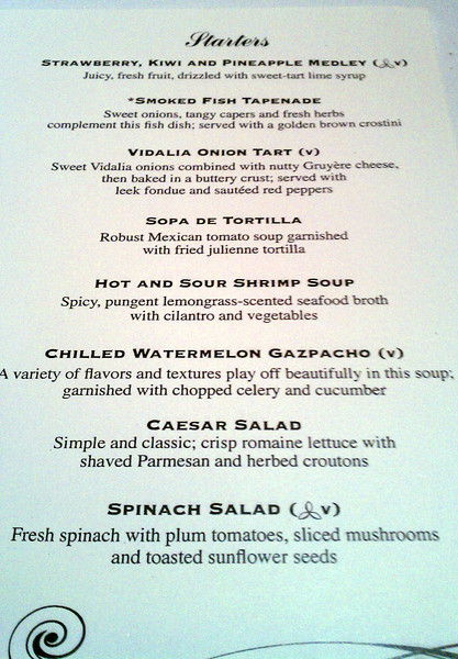Starter Menu for 11/26/11 Day 1