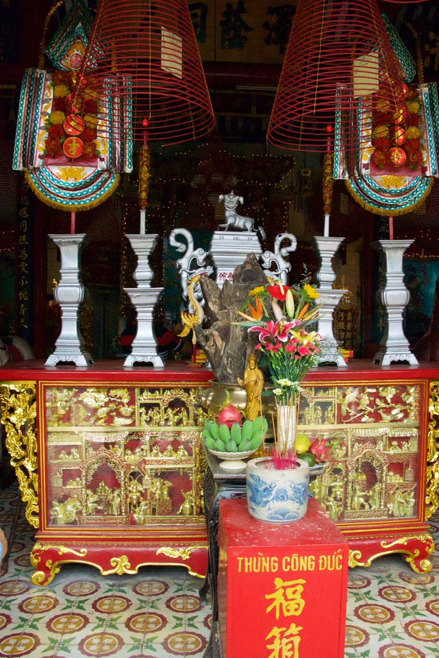 Altar of Assembly Hall (Temple) of the Cantonese Chinese Congregation. Note the three essential offering elements: fruit, flower and incense.