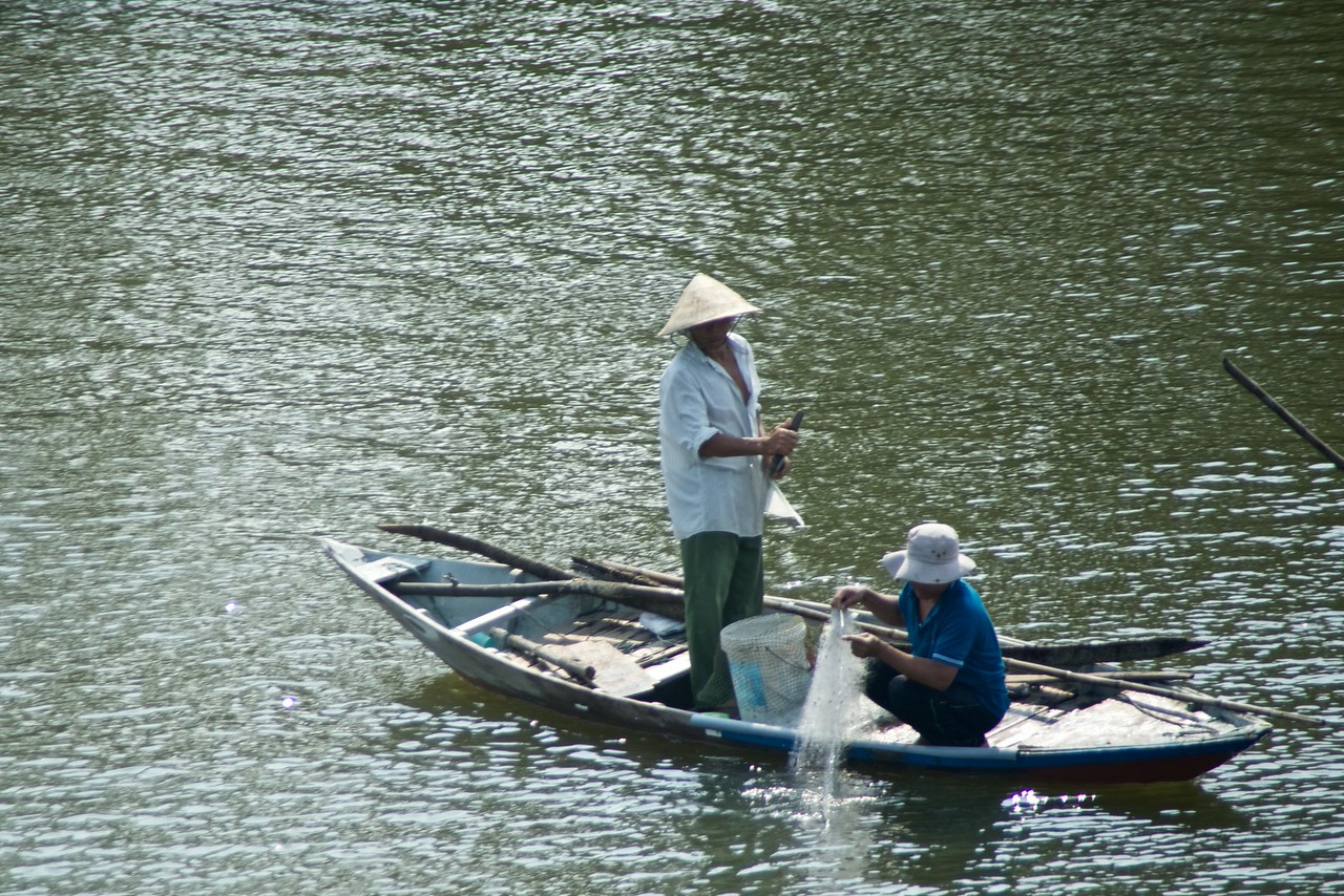 Local fisherman. (from bus)