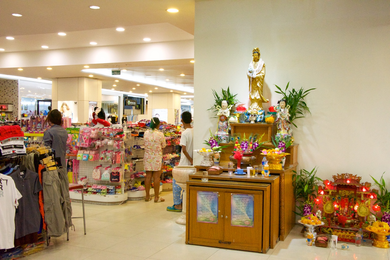 Spirit houses on the ground floor of Mike's Mall to insure a prosperous business.