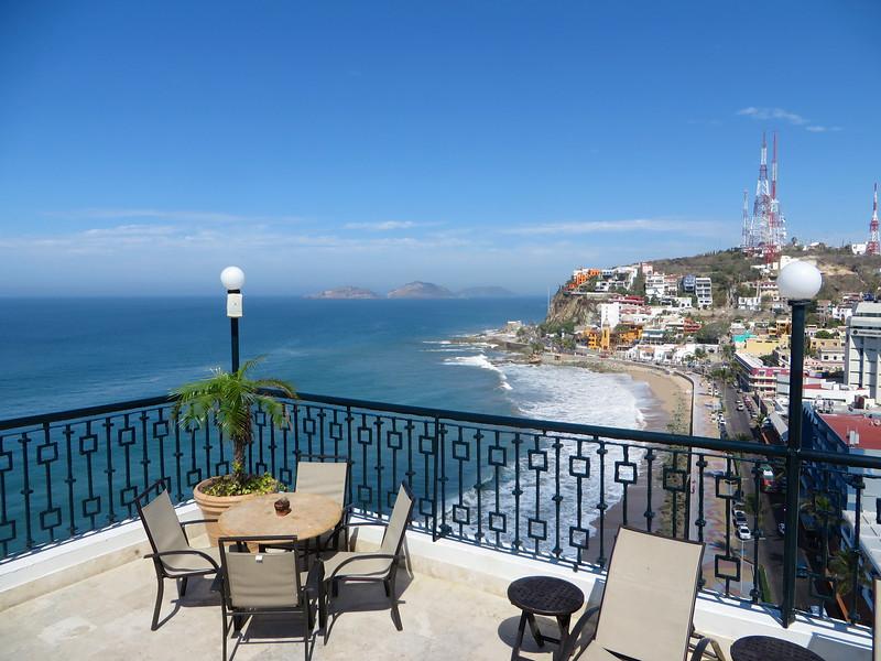 View from the tallest building in Mazatlan, the 12 story Hotel Freeman, overlooking Playa Olas Altas
