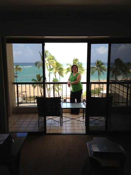 Sheila checks out the view from our lanai (Hawaiian for balcony).