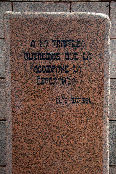 """Sadness Accompanied by Hope"", Elie Weisel    Hope is Last Word in Park  2011-01-1909-27-06"