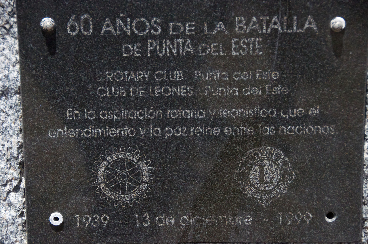 Dedicated 60 years afer the Battle of Punta Del Este    given by the Rotary & Lions with aspiration of understanding & peace among nations (12-13-99)  2011-01-1812-44-05