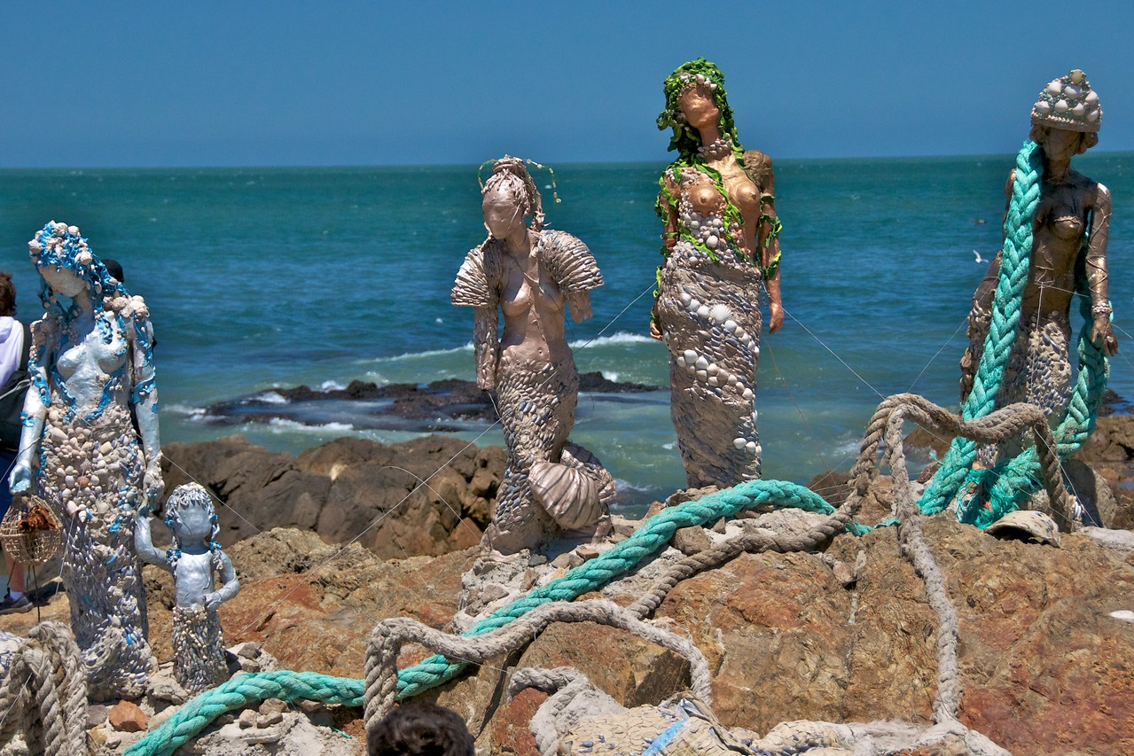 Mermaid Statues, Represent Ways Water is Being Polluted    at Southern Most Point of Uruguay (Atlantic to left & Rio Plata Bay to right) 2011-01-1812-39-06