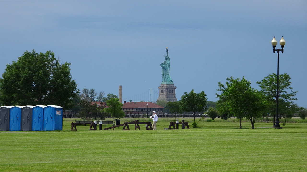 We're dropped off at Liberty State Park.  Here's the view of Lady Liberty as we walk to the Ferry Terminal.