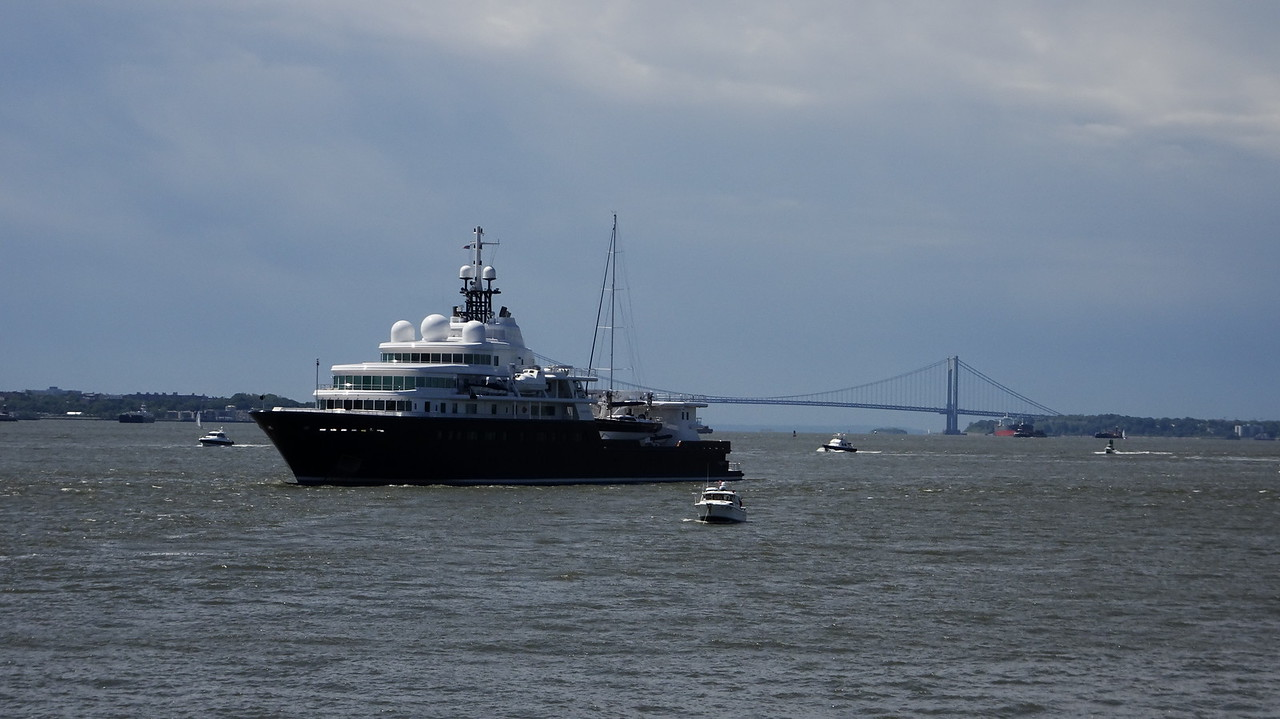 This yacht was anchored not far from Liberty Island.  It belongs to a Russian Oligarch.