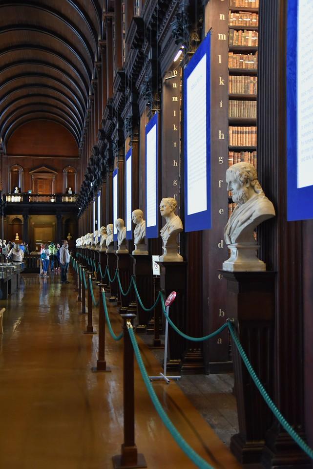 Busts of Irish Writers Line The Room