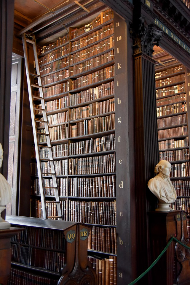 Each Alcove Houses Books Arranged Alphabetically and Accessed by Narrow Ladders