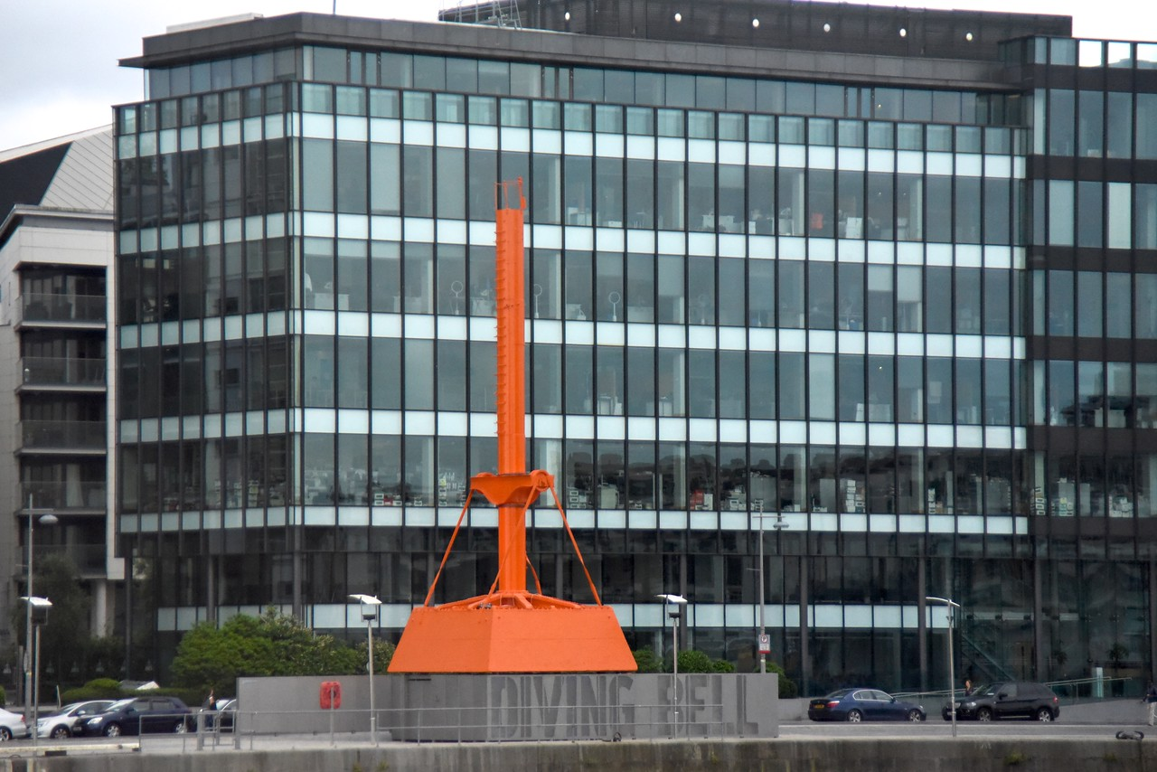 Diving Bell Used To Build The Walls Along The Liffey River  (From Bus)
