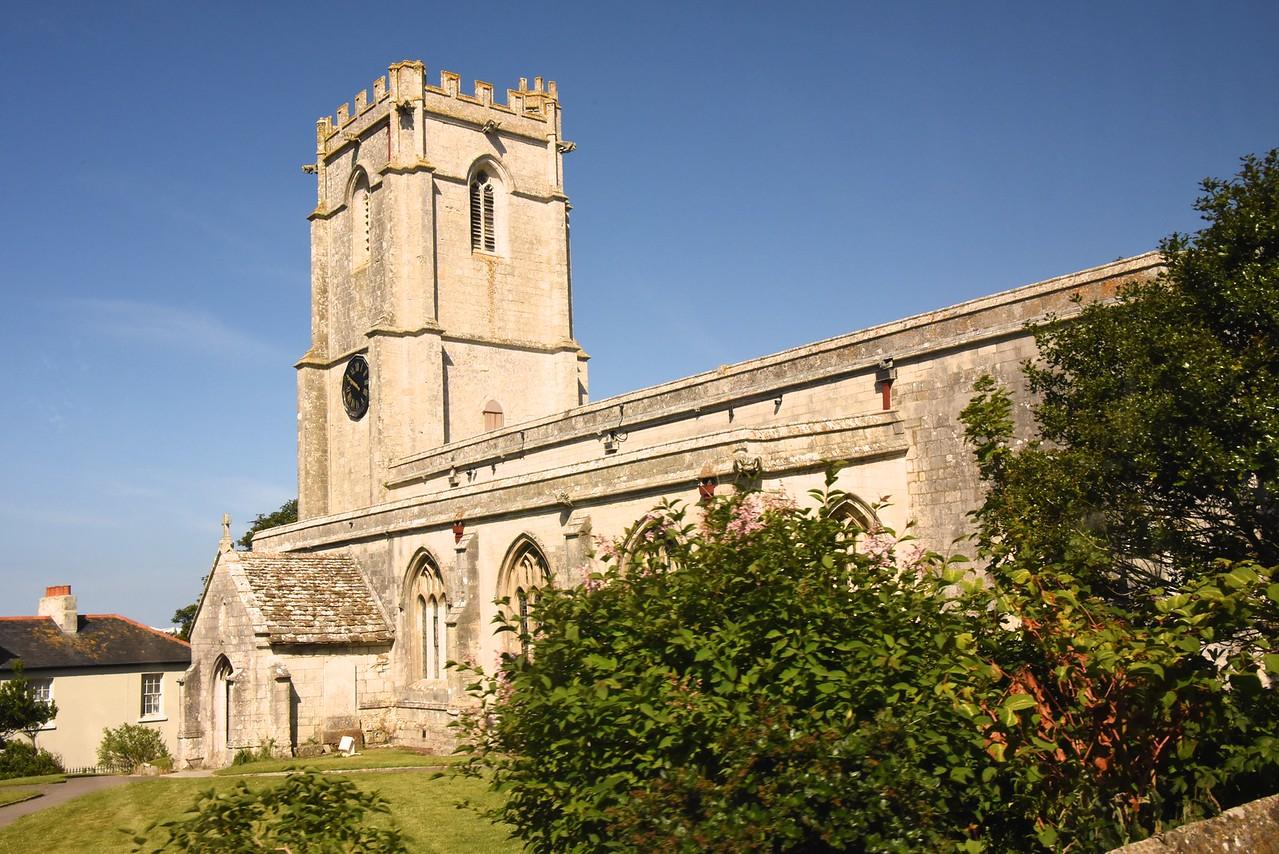 Wyke Regis All Saints w- St  Edmund Church in Weymouth  (From Bus)